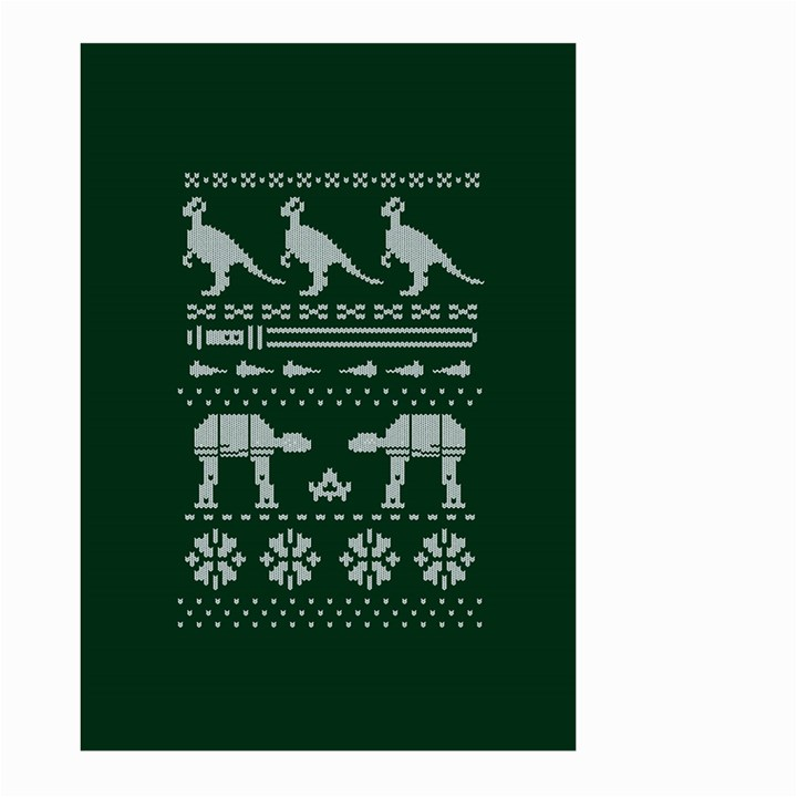 Holiday Party Attire Ugly Christmas Green Background Large Garden Flag (Two Sides)