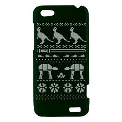 Holiday Party Attire Ugly Christmas Green Background HTC One V Hardshell Case