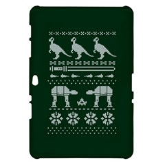 Holiday Party Attire Ugly Christmas Green Background Samsung Galaxy Tab 10.1  P7500 Hardshell Case