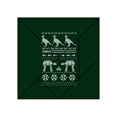 Holiday Party Attire Ugly Christmas Green Background Acrylic Tangram Puzzle (4  x 4 )
