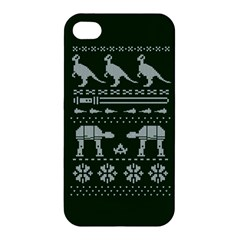 Holiday Party Attire Ugly Christmas Green Background Apple iPhone 4/4S Premium Hardshell Case