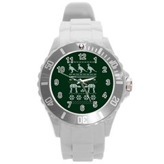Holiday Party Attire Ugly Christmas Green Background Round Plastic Sport Watch (L)