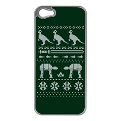 Holiday Party Attire Ugly Christmas Green Background Apple iPhone 5 Case (Silver)