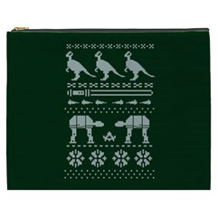 Holiday Party Attire Ugly Christmas Green Background Cosmetic Bag (XXXL)
