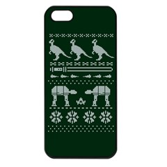 Holiday Party Attire Ugly Christmas Green Background Apple iPhone 5 Seamless Case (Black)
