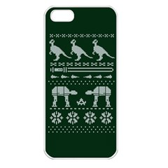 Holiday Party Attire Ugly Christmas Green Background Apple iPhone 5 Seamless Case (White)
