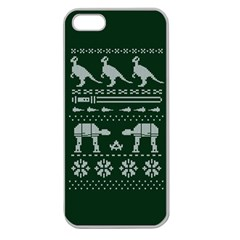 Holiday Party Attire Ugly Christmas Green Background Apple Seamless iPhone 5 Case (Clear)
