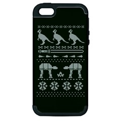 Holiday Party Attire Ugly Christmas Green Background Apple iPhone 5 Hardshell Case (PC+Silicone)