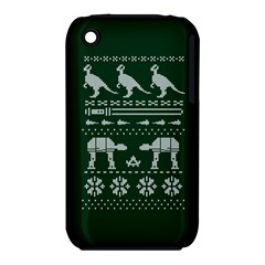 Holiday Party Attire Ugly Christmas Green Background Apple iPhone 3G/3GS Hardshell Case (PC+Silicone)