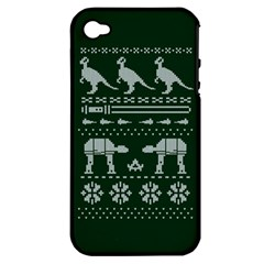 Holiday Party Attire Ugly Christmas Green Background Apple iPhone 4/4S Hardshell Case (PC+Silicone)