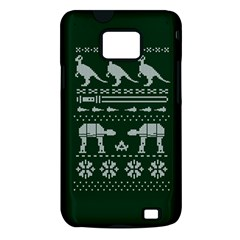 Holiday Party Attire Ugly Christmas Green Background Samsung Galaxy S II i9100 Hardshell Case (PC+Silicone)