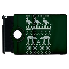 Holiday Party Attire Ugly Christmas Green Background Apple iPad 2 Flip 360 Case