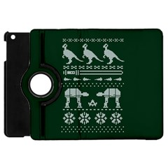 Holiday Party Attire Ugly Christmas Green Background Apple iPad Mini Flip 360 Case