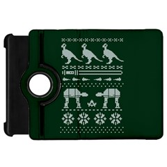 Holiday Party Attire Ugly Christmas Green Background Kindle Fire HD Flip 360 Case