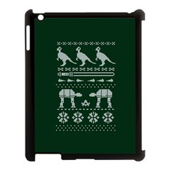 Holiday Party Attire Ugly Christmas Green Background Apple iPad 3/4 Case (Black)