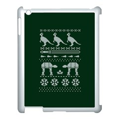 Holiday Party Attire Ugly Christmas Green Background Apple iPad 3/4 Case (White)