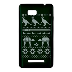 Holiday Party Attire Ugly Christmas Green Background HTC One SU T528W Hardshell Case