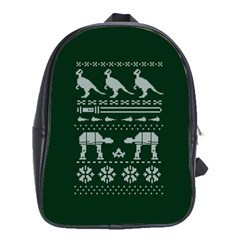 Holiday Party Attire Ugly Christmas Green Background School Bags (XL)