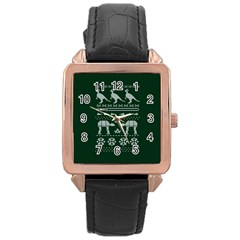 Holiday Party Attire Ugly Christmas Green Background Rose Gold Leather Watch
