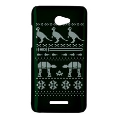 Holiday Party Attire Ugly Christmas Green Background HTC Butterfly X920E Hardshell Case