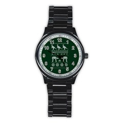 Holiday Party Attire Ugly Christmas Green Background Stainless Steel Round Watch
