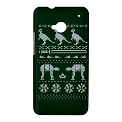 Holiday Party Attire Ugly Christmas Green Background HTC One M7 Hardshell Case
