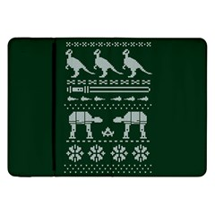 Holiday Party Attire Ugly Christmas Green Background Samsung Galaxy Tab 8.9  P7300 Flip Case