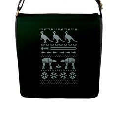 Holiday Party Attire Ugly Christmas Green Background Flap Messenger Bag (L)