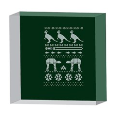 Holiday Party Attire Ugly Christmas Green Background 5  x 5  Acrylic Photo Blocks