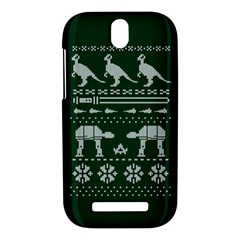 Holiday Party Attire Ugly Christmas Green Background HTC One SV Hardshell Case