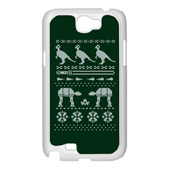 Holiday Party Attire Ugly Christmas Green Background Samsung Galaxy Note 2 Case (White)