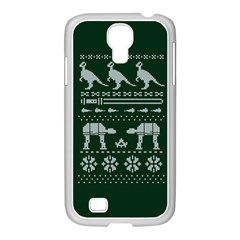 Holiday Party Attire Ugly Christmas Green Background Samsung GALAXY S4 I9500/ I9505 Case (White)