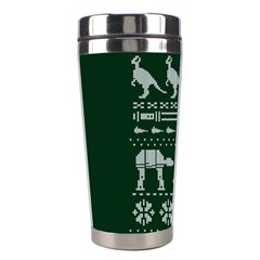 Holiday Party Attire Ugly Christmas Green Background Stainless Steel Travel Tumblers