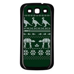 Holiday Party Attire Ugly Christmas Green Background Samsung Galaxy S3 Back Case (Black)