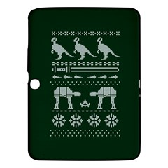 Holiday Party Attire Ugly Christmas Green Background Samsung Galaxy Tab 3 (10.1 ) P5200 Hardshell Case