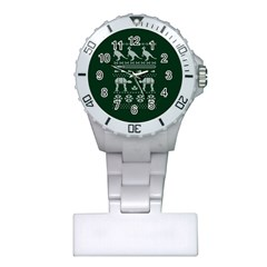 Holiday Party Attire Ugly Christmas Green Background Plastic Nurses Watch