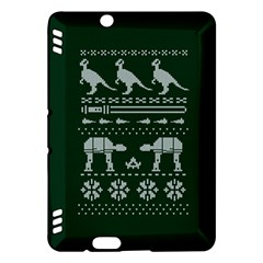 Holiday Party Attire Ugly Christmas Green Background Kindle Fire HDX Hardshell Case