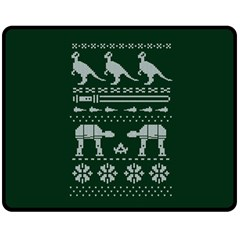 Holiday Party Attire Ugly Christmas Green Background Double Sided Fleece Blanket (Medium)