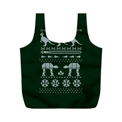 Holiday Party Attire Ugly Christmas Green Background Full Print Recycle Bags (M)