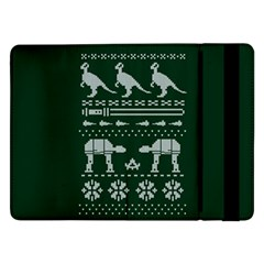 Holiday Party Attire Ugly Christmas Green Background Samsung Galaxy Tab Pro 12.2  Flip Case