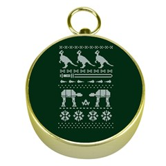 Holiday Party Attire Ugly Christmas Green Background Gold Compasses