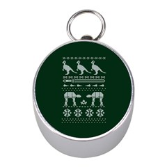Holiday Party Attire Ugly Christmas Green Background Mini Silver Compasses