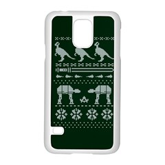 Holiday Party Attire Ugly Christmas Green Background Samsung Galaxy S5 Case (White)
