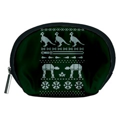 Holiday Party Attire Ugly Christmas Green Background Accessory Pouches (Medium)