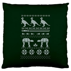 Holiday Party Attire Ugly Christmas Green Background Large Flano Cushion Case (One Side)