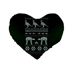 Holiday Party Attire Ugly Christmas Green Background Standard 16  Premium Flano Heart Shape Cushions