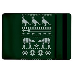 Holiday Party Attire Ugly Christmas Green Background iPad Air 2 Flip