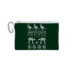 Holiday Party Attire Ugly Christmas Green Background Canvas Cosmetic Bag (S)