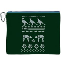 Holiday Party Attire Ugly Christmas Green Background Canvas Cosmetic Bag (XXXL)