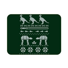 Holiday Party Attire Ugly Christmas Green Background Double Sided Flano Blanket (Mini)